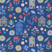 Lewis & Irene - Hann's House - 5809 - Modern Floral & Houses on Navy  - A276.3 - Cotton Fabric